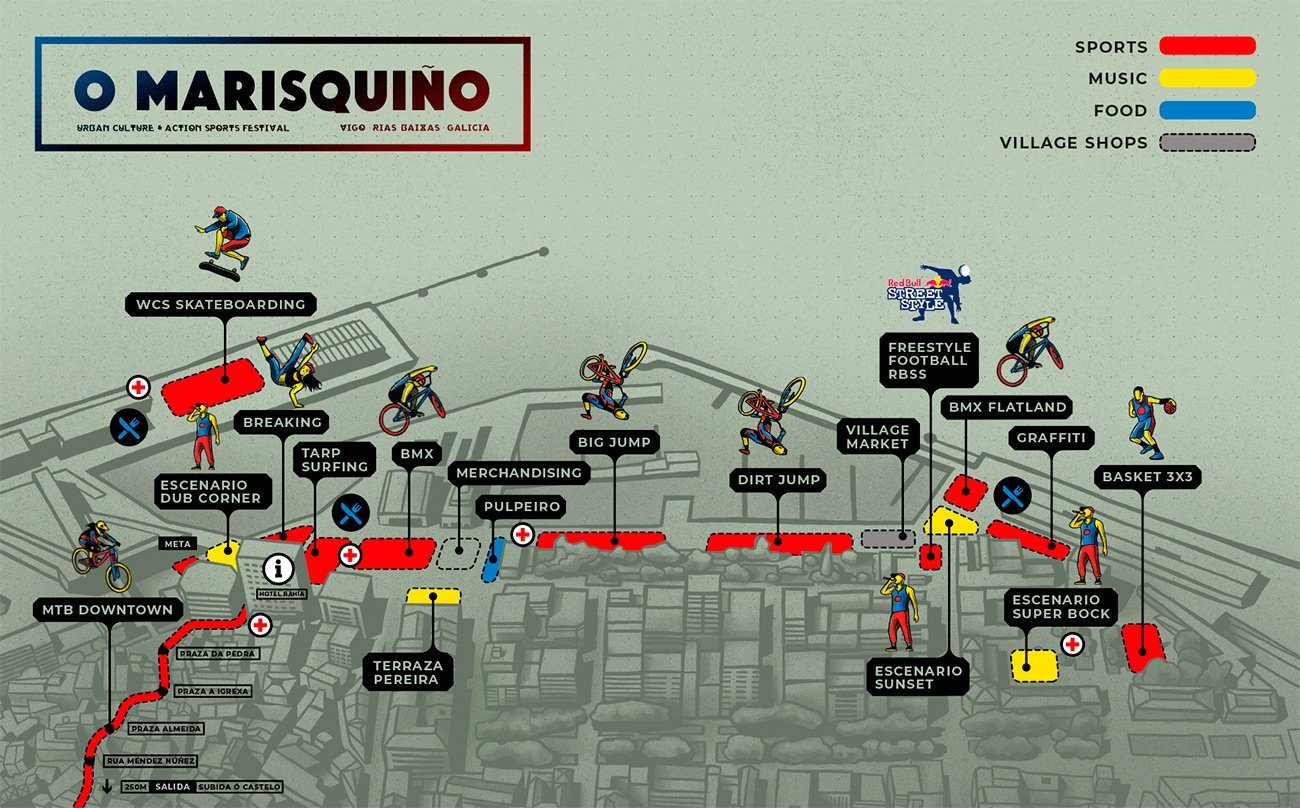Illustration map O Marisquiño skate event by Sr.Reny
