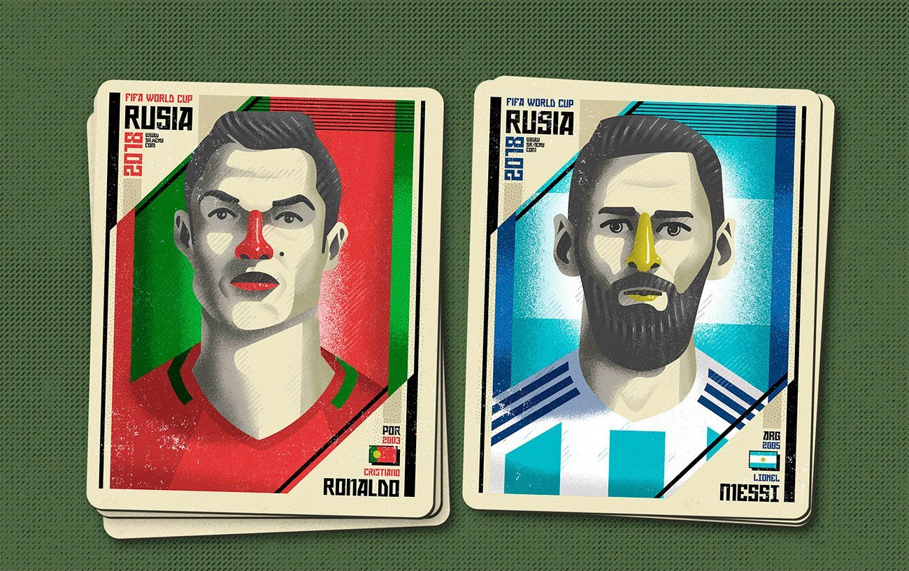 Illustration Mundial Rusia, Cristiano and Messi by Sr.Reny