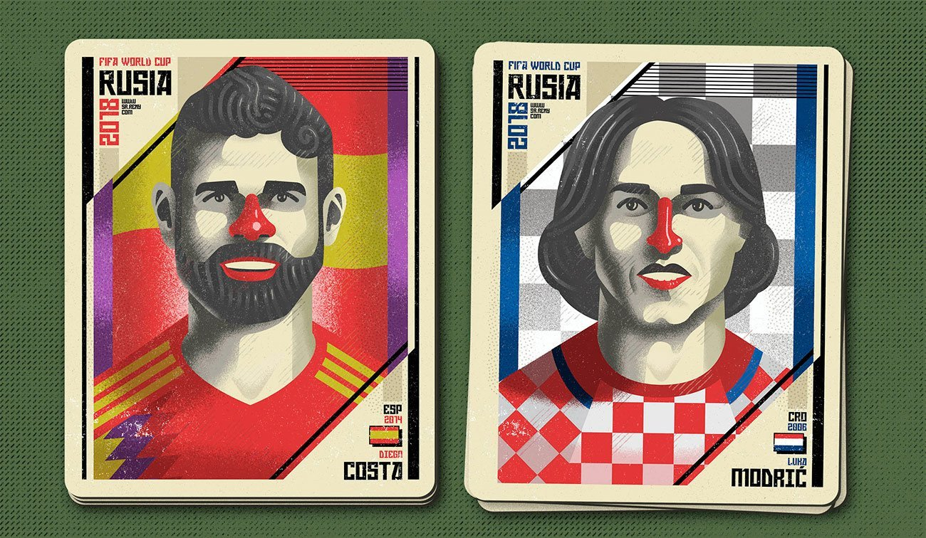 Illustration Mundial Rusia, Diego and Modric by Sr.Reny