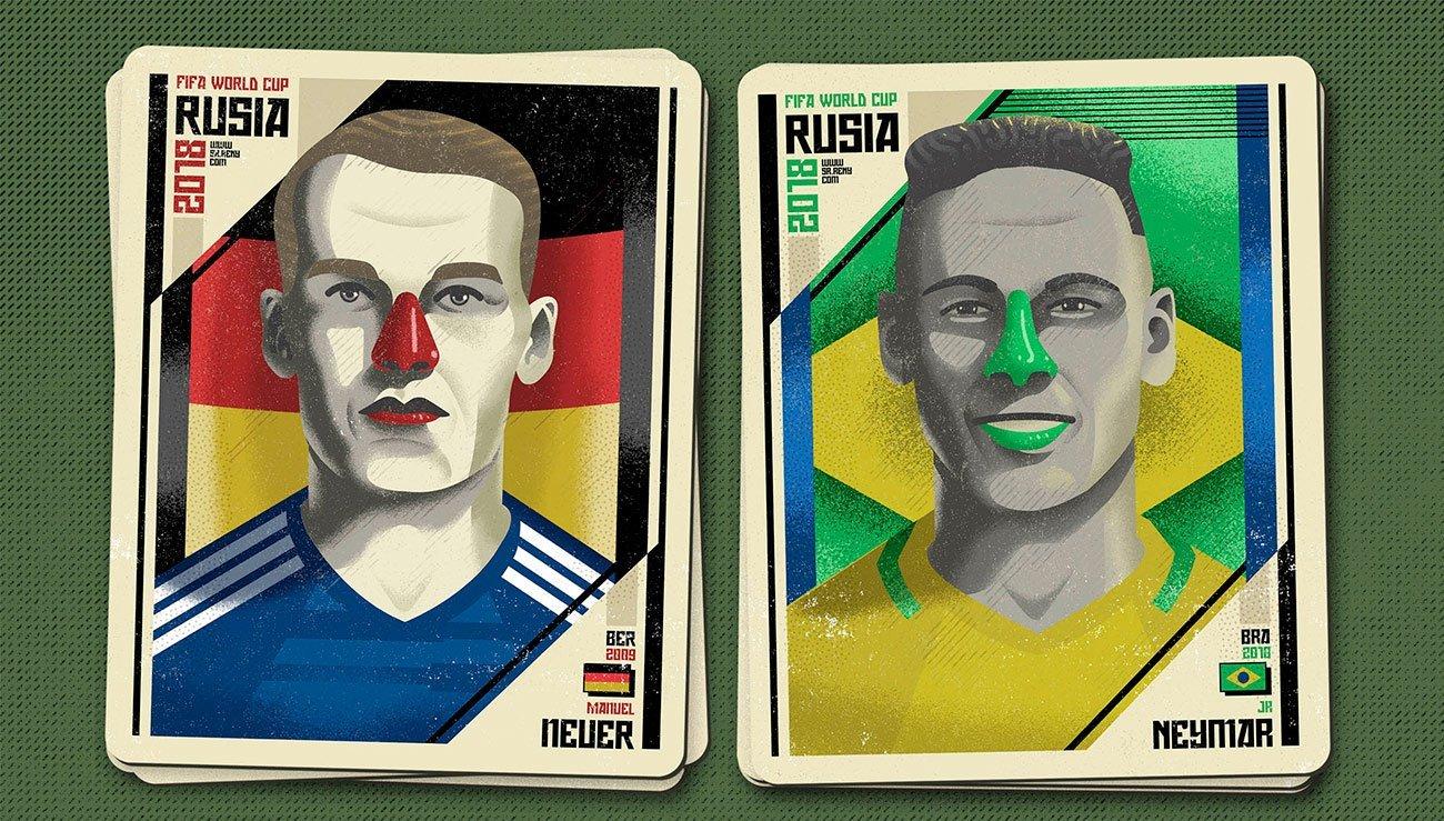 Illustration Mundial Rusia, Neuer and Neymar by Sr.Reny