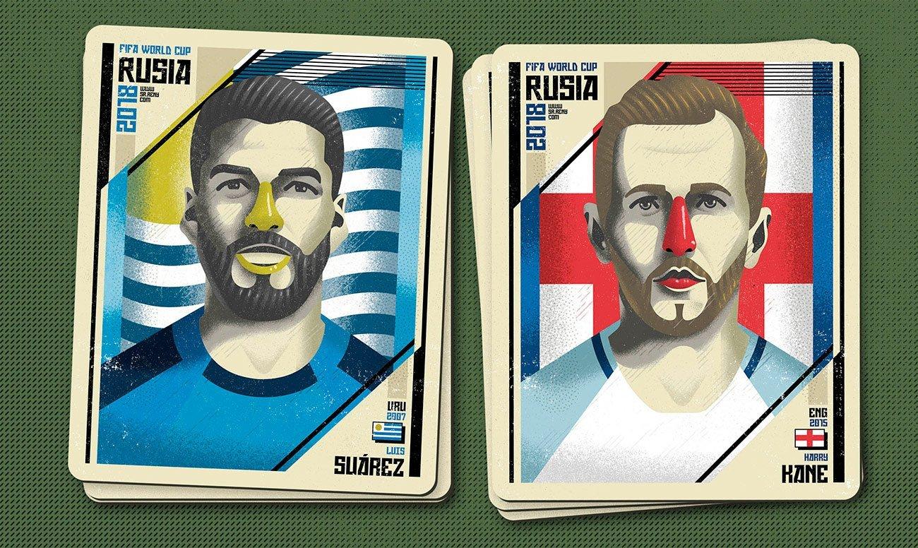 Illustration Mundial Rusia, Suarez and Kane by Sr.Reny