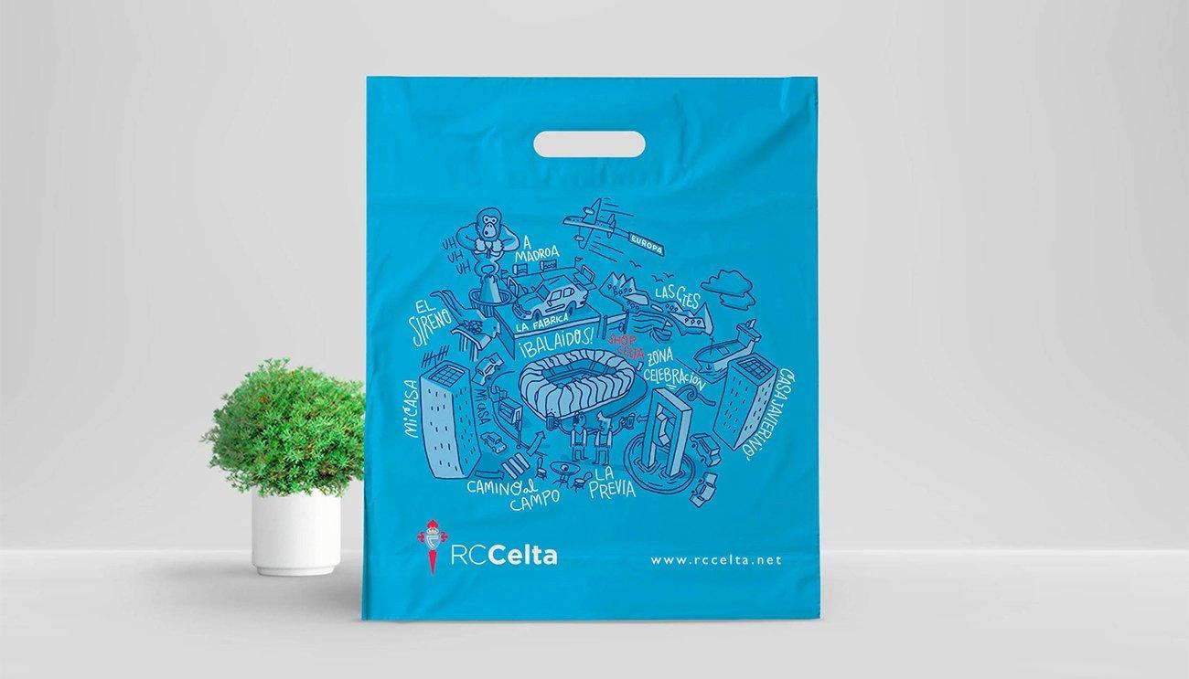 Plastic bag design illustration for RcCelta by Sr.Reny
