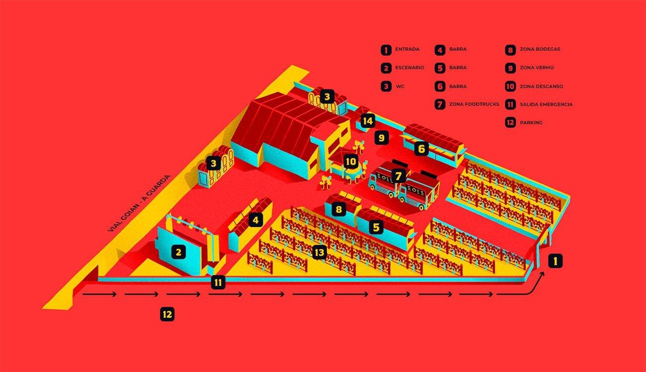 Map illustration for Invino Fest by Sr.Reny
